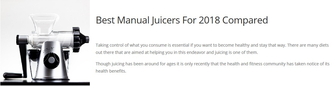 Juicer Reviews of Manual Juicers