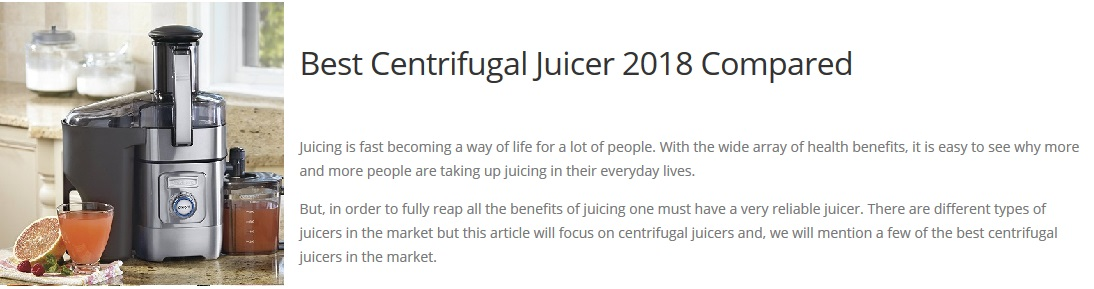 Juicer Reviews of Centrifugal Juicers