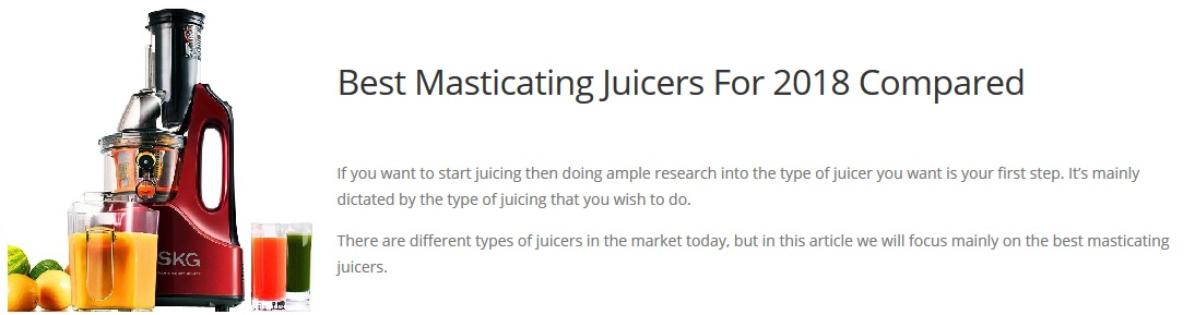 Juicer Reviews of Masticating Juicers